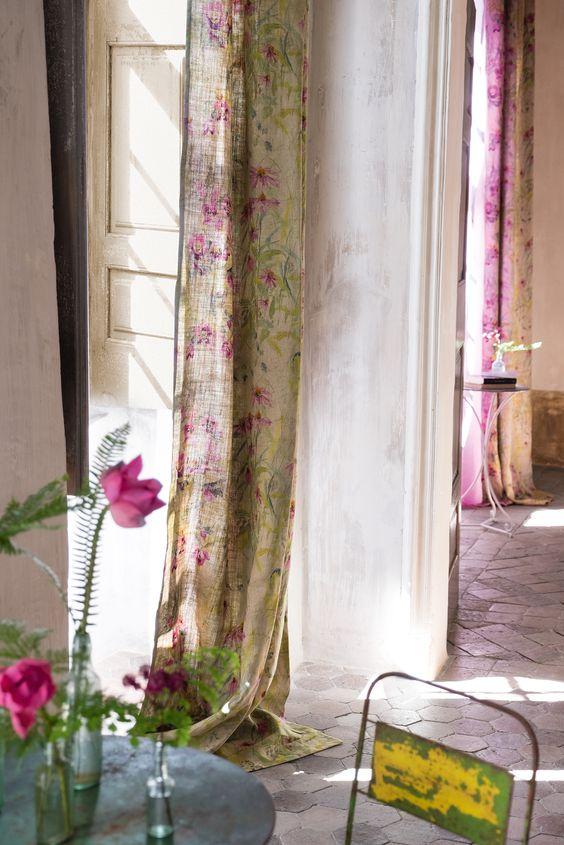 Stoer linnen met bloemprint