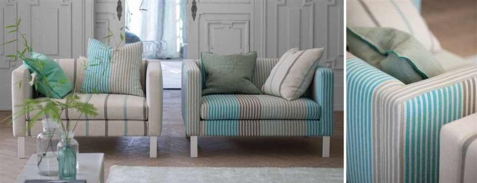 Loveseat Quadro Designers Guild in linnen streep