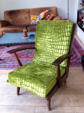 Heerlijke vintage stoel in Nabucco velours Designers Guild